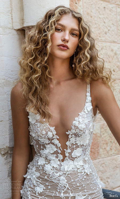 berta fall 2021 bridal sleeveless straps plunging v neckline fully embellished lace fit flare mermaid sheath wedding dress chapel train (6) zv