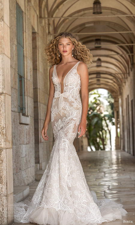 berta fall 2021 bridal sleeveless straps plunging v neckline fully embellished lace fit flare mermaid wedding dress chapel train (13) mv
