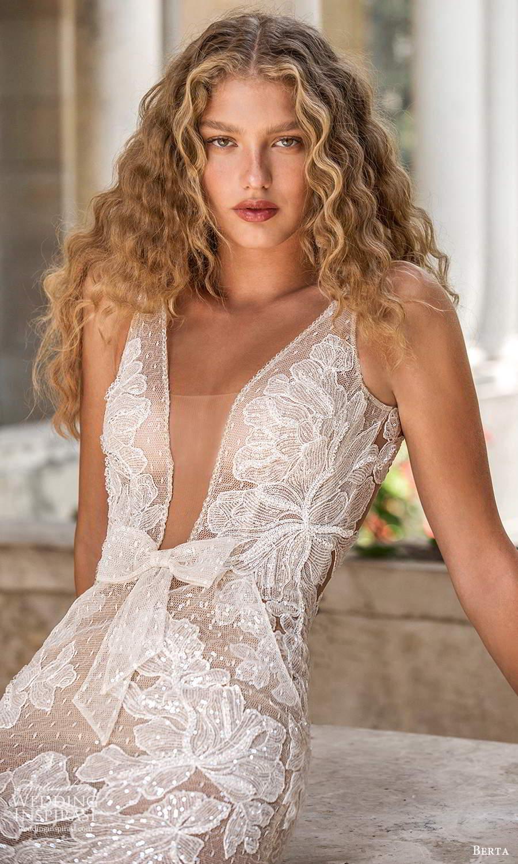 berta fall 2021 bridal sleeveless straps plunging v neckline fully embellished lace fit flare mermaid wedding dress chapel train (13) zv