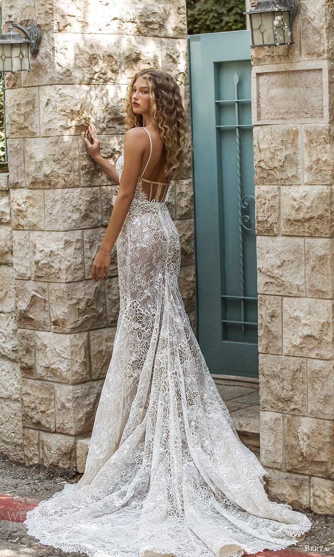 berta fall 2021 bridal sleeveless thin straps sweetheart neckline fully embellished lace fit flare wedding dress chapel train (14) bv