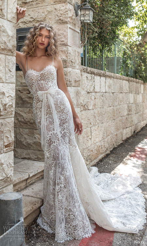 berta fall 2021 bridal sleeveless thin straps sweetheart neckline fully embellished lace fit flare wedding dress chapel train (14) mv