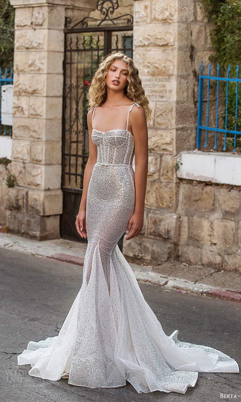 berta fall 2021 bridal sleeveless thing straps semi sweetheart neckline fully embellished fit flare mermaid wedding dress silver chapel train (2) mv