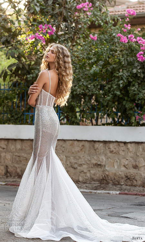 berta fall 2021 bridal sleeveless thing straps semi sweetheart neckline fully embellished fit flare mermaid wedding dress silver chapel train (2) sv