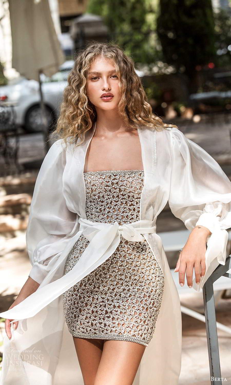 berta fall 2021 bridal strapless straight across fully embellished short wedding dress long puff sleeve coat (17) mv