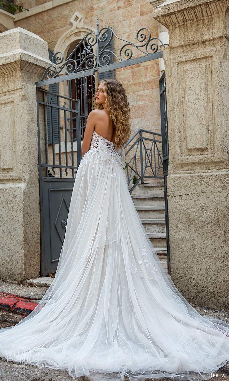 berta fall 2021 bridal strapless sweetheart neckline embellished corset bodice a line ball gown wedding dress chapel train (11) bv