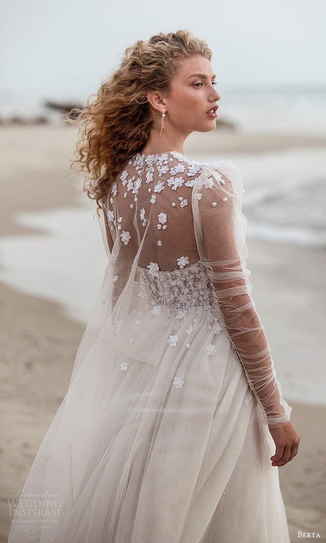 berta fall 2021 bridal strapless sweetheart neckline embellished corset bodice a line ball gown wedding dress chapel train cape (11) bv