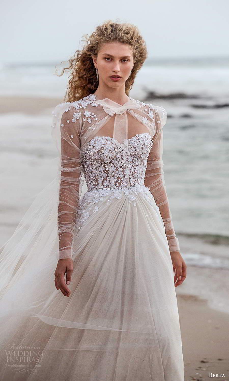 berta fall 2021 bridal strapless sweetheart neckline embellished corset bodice a line ball gown wedding dress chapel train cape (11) mv