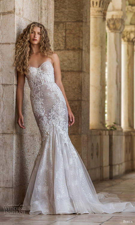 berta fall 2021 bridal strapless sweetheart neckline fully embellished fit flare mermaid wedding dress chapel train (16) mv