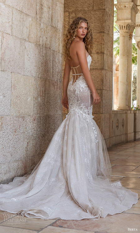 berta fall 2021 bridal strapless sweetheart neckline fully embellished fit flare mermaid wedding dress chapel train sheer back (16) mv