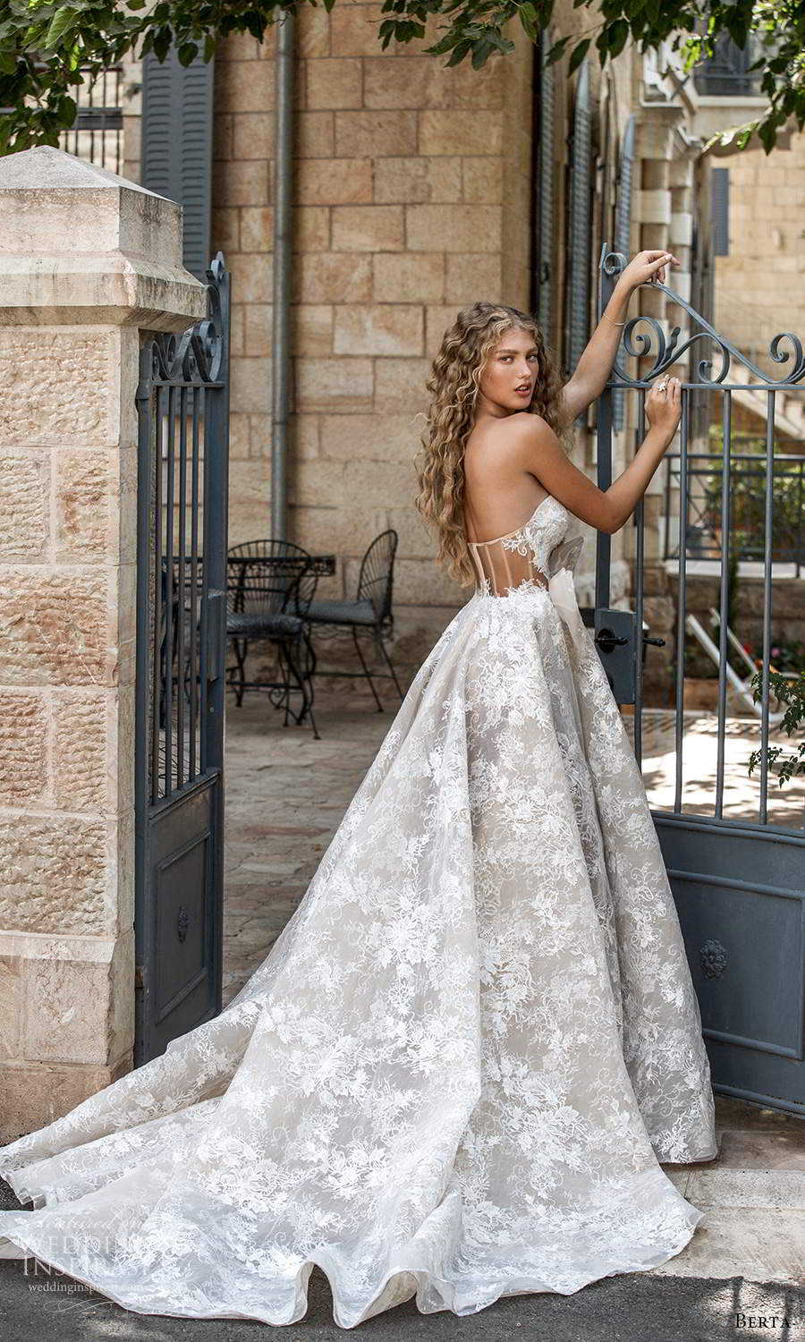 berta fall 2021 bridal strapless sweetheart neckline fully embellished lace a line ball gown wedding dress chapel train (9) bv