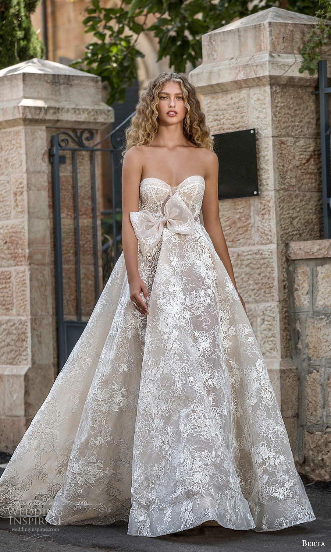 berta fall 2021 bridal strapless sweetheart neckline fully embellished lace a line ball gown wedding dress chapel train (9) mv