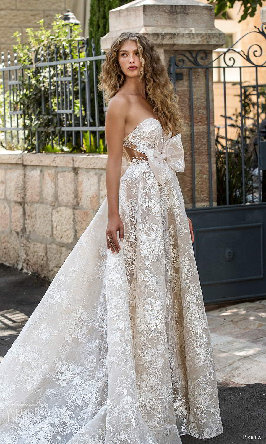 berta fall 2021 bridal strapless sweetheart neckline fully embellished lace a line ball gown wedding dress chapel train (9) sv