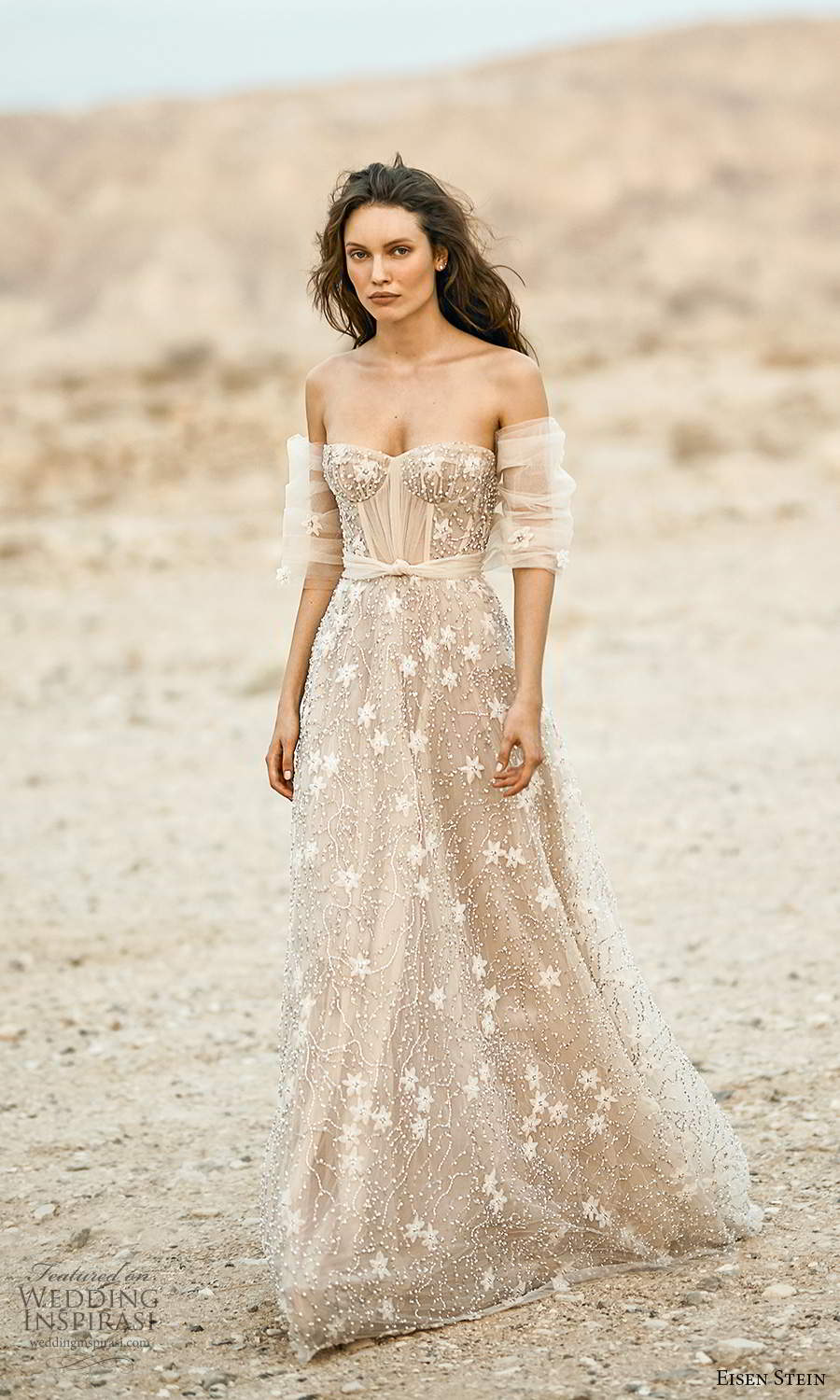 eisen stein fall 2021 bridal detached half sleeves strapless semi sweetheart neckline fully embellished a line ball gown wedding dress sweep train (9) mv