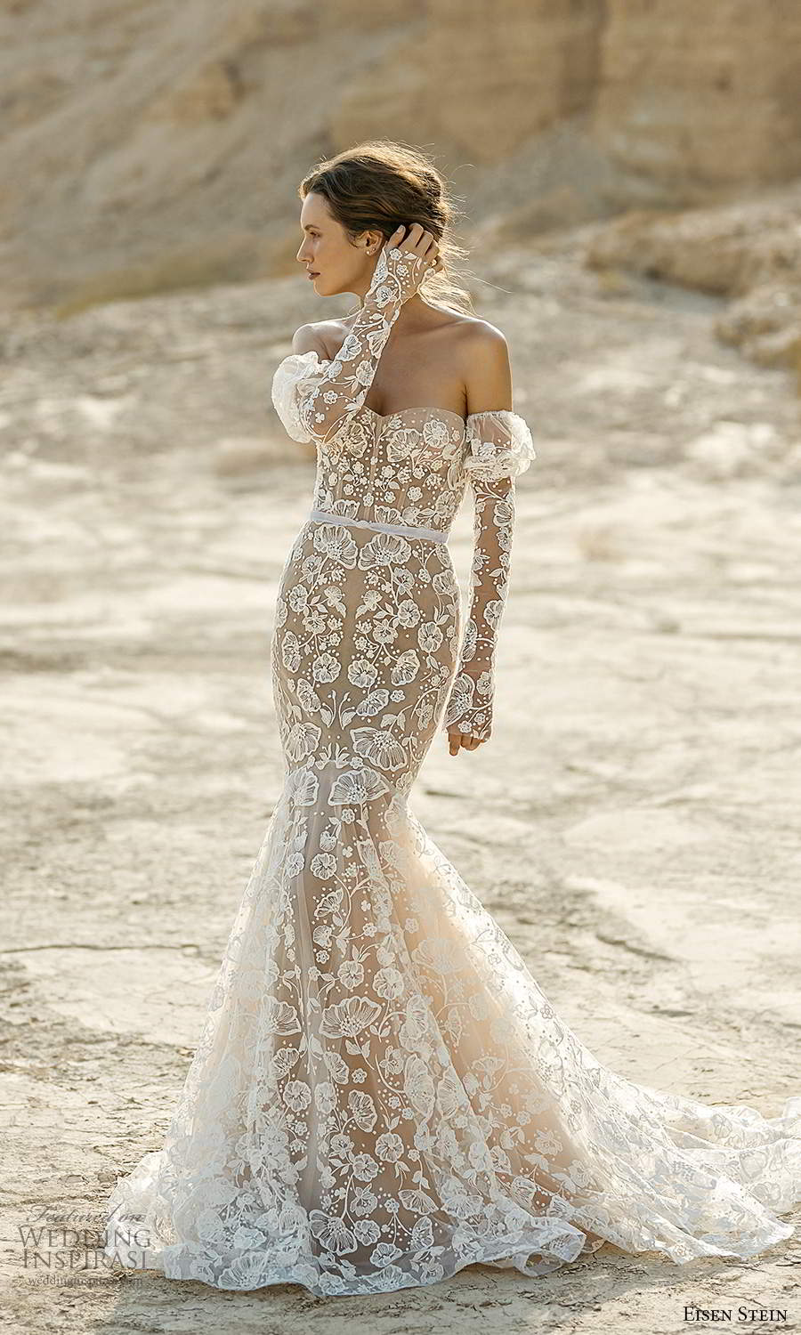 eisen stein fall 2021 bridal detached long puff sleeves strapless sweetheart neckline fully embellished mermaid wedding dress chapel train (4) mv