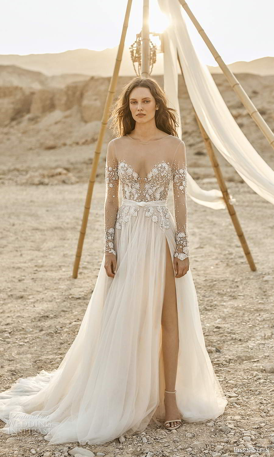 eisen stein fall 2021 bridal illusion long sleeves sheer sweetheart neckline embellished bodice a line ball gown wedding dress slit skirt chapel train (2) mv
