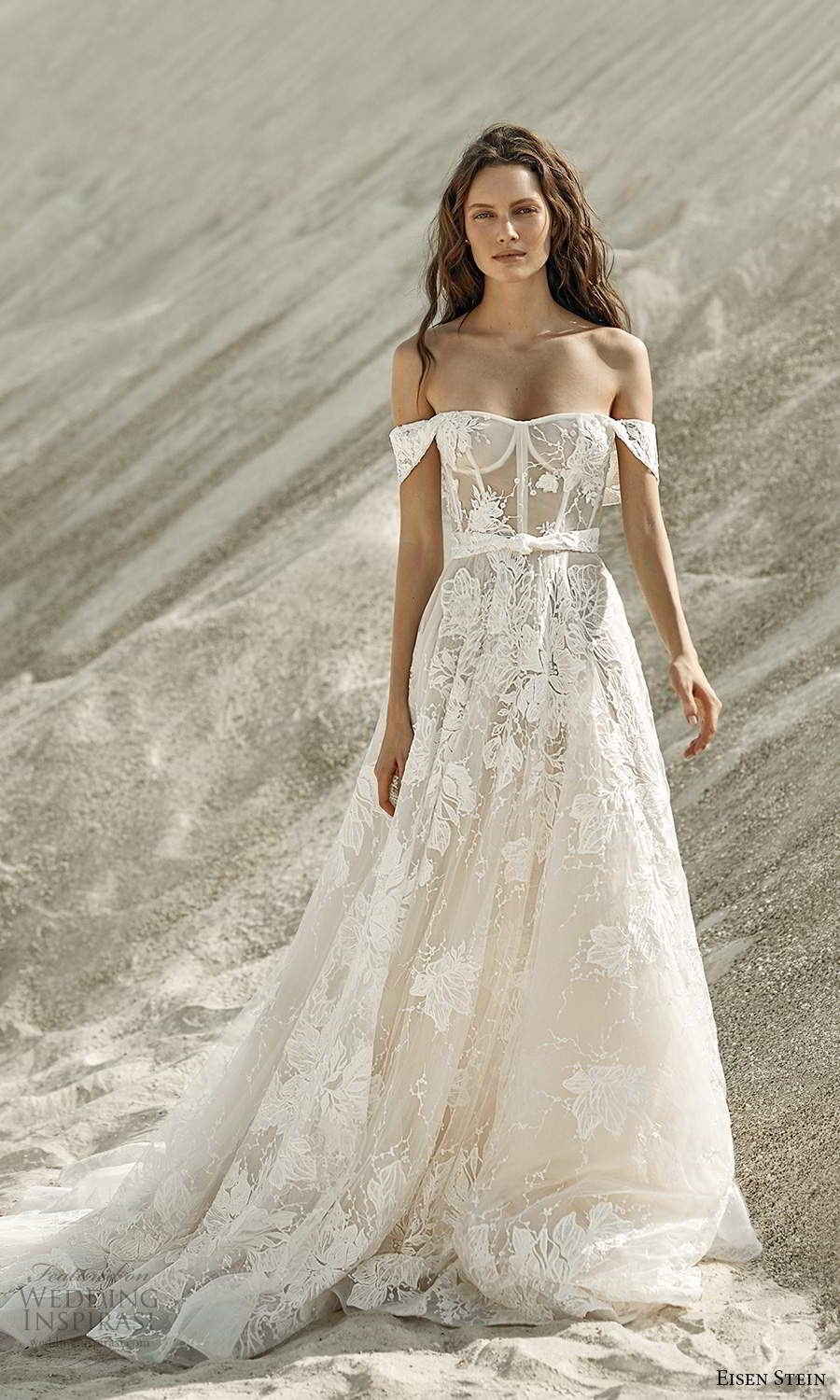 eisen stein fall 2021 bridal off shoulder straps semi sweetheart neckline sheer bodice embellished a line ball gown wedding dress chapel train (6) mv