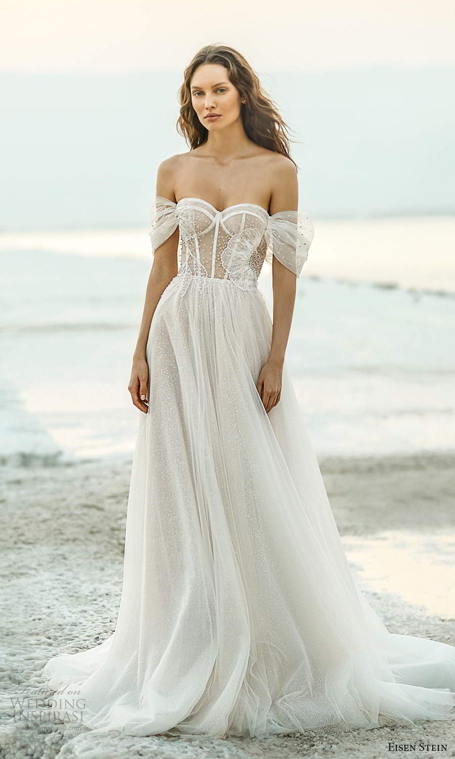 eisen stein fall 2021 bridal off shoulder straps sweetheart neckline sheer embellished bodice a line ball gown wedding dress chapel train (3) mv