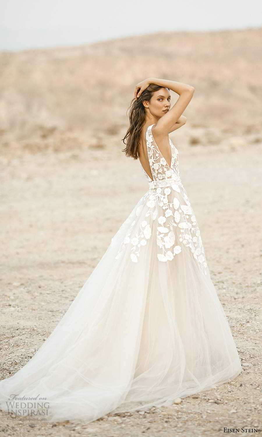 eisen stein fall 2021 bridal sleeveless straps plunging v neckline embellished bodice a line ball gown wedding dress chapel train (8) bv