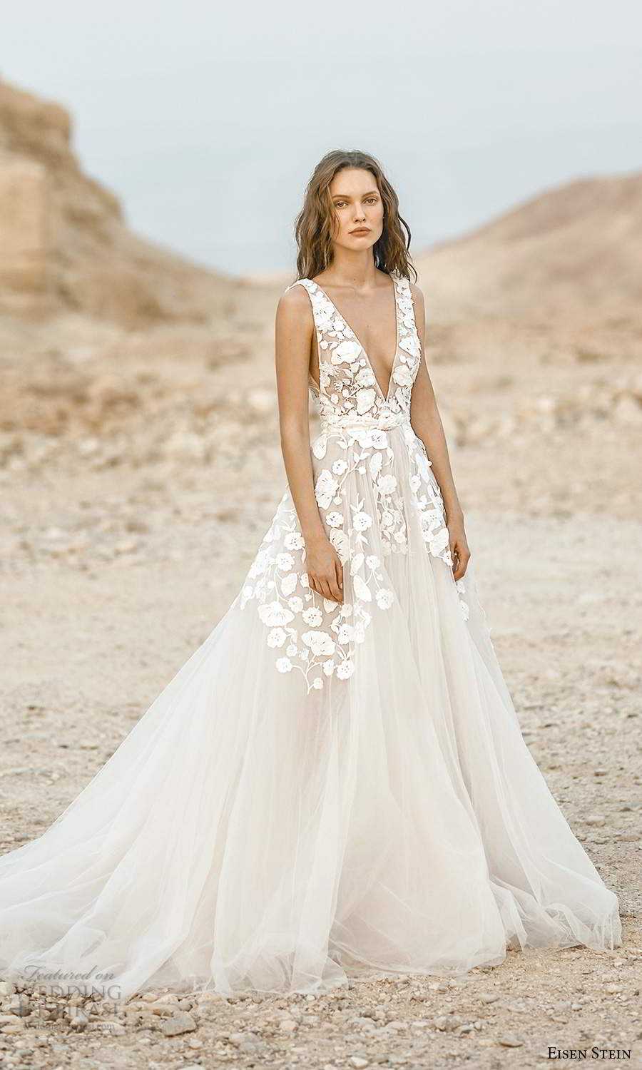 eisen stein fall 2021 bridal sleeveless straps plunging v neckline embellished bodice a line ball gown wedding dress chapel train (8) mv