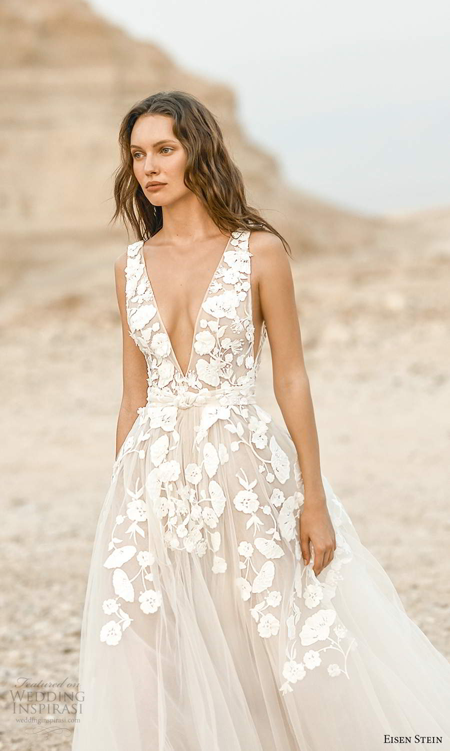 eisen stein fall 2021 bridal sleeveless straps plunging v neckline embellished bodice a line ball gown wedding dress chapel train (8) zv
