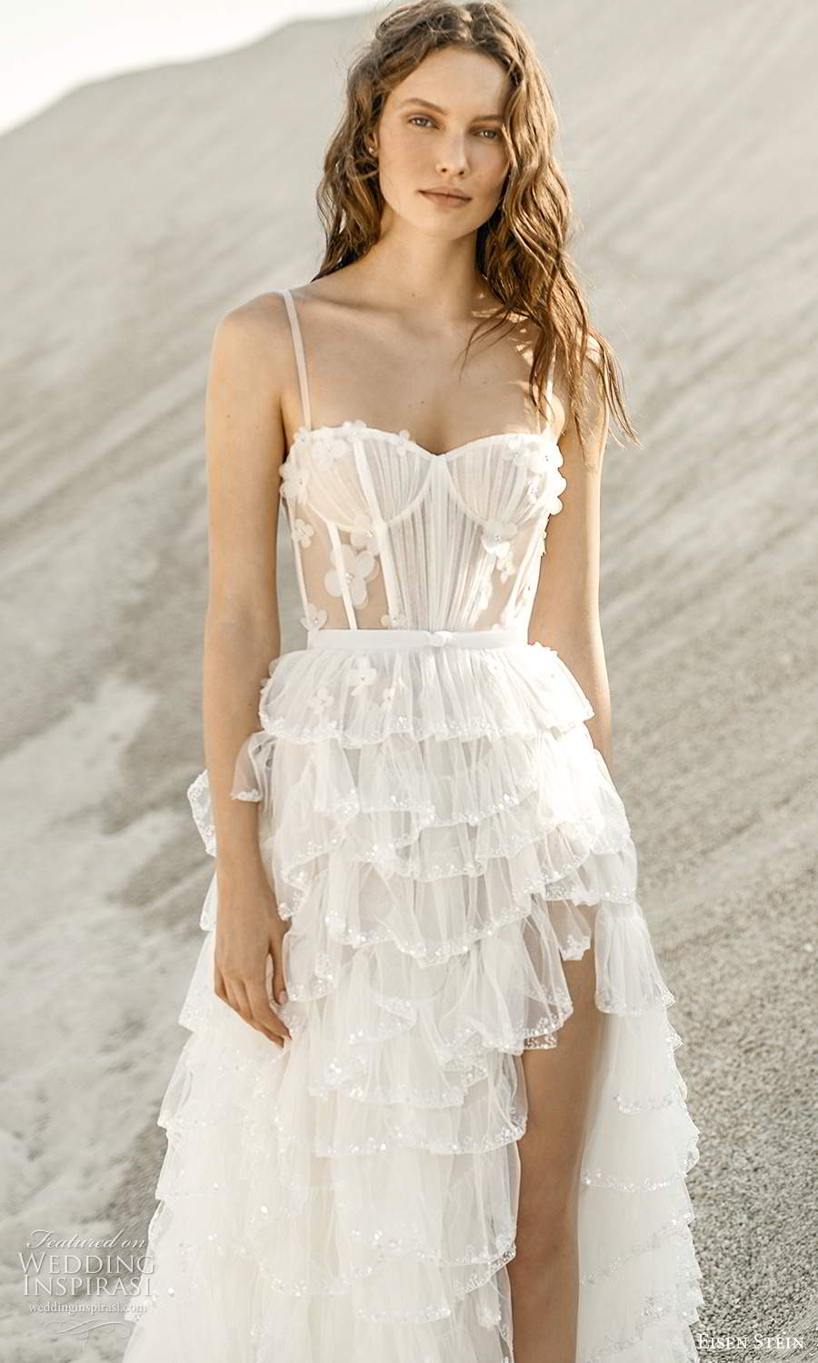 eisen stein fall 2021 bridal sleeveless thing straps semi sweetheart ruched bodice a line ball gown wedding dress tiered slit skirt chapel train (5) zv