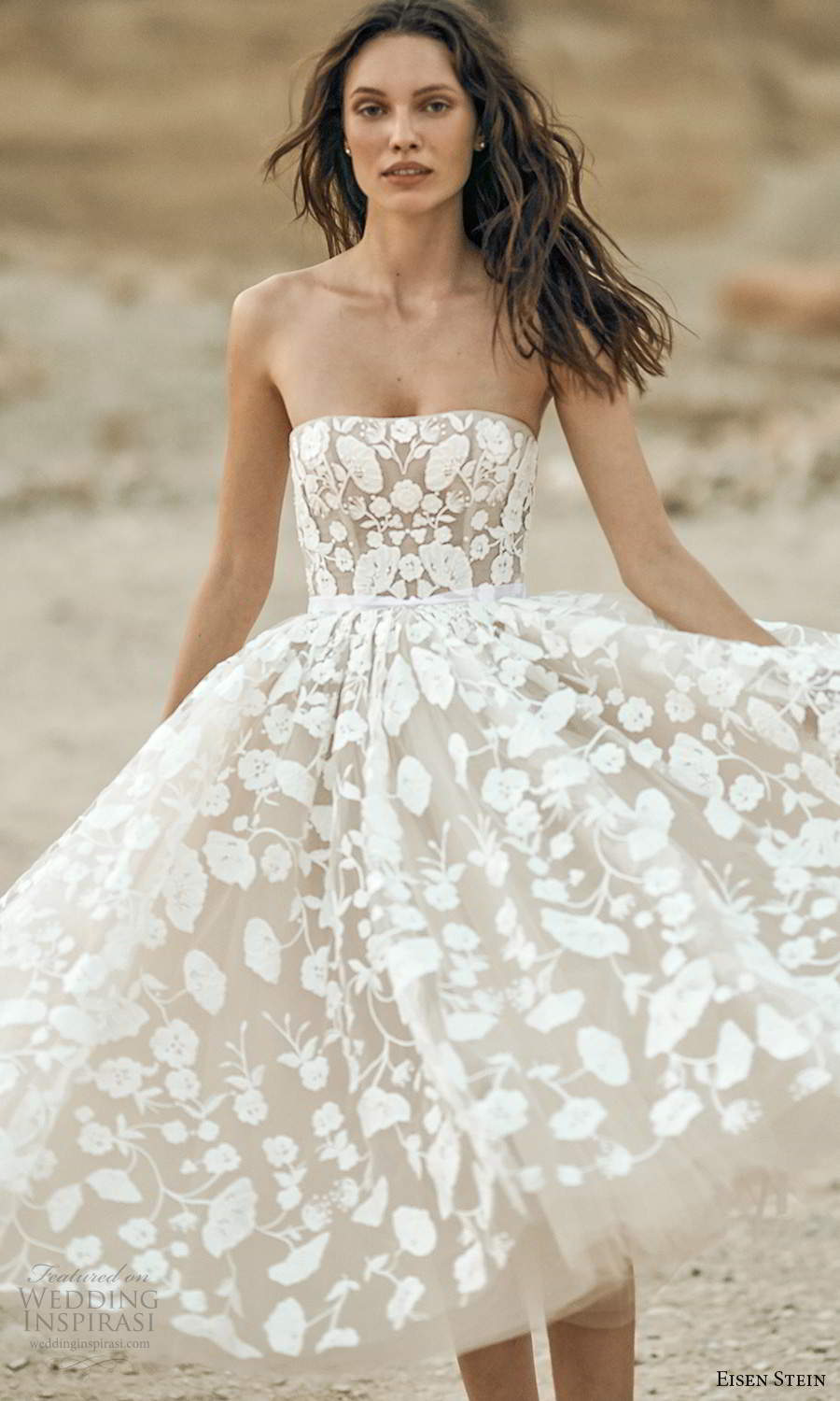 eisen stein fall 2021 bridal strapless straight across neckline fully embellished lace a line ball gown tea length wedding dress (11) zv