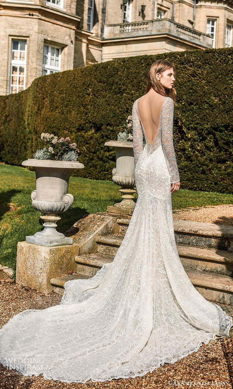 gala galia lahav fall 2021 bridal long sleeve plunging v neckline fit flare mermaid wedding dress chapel train (2) bv