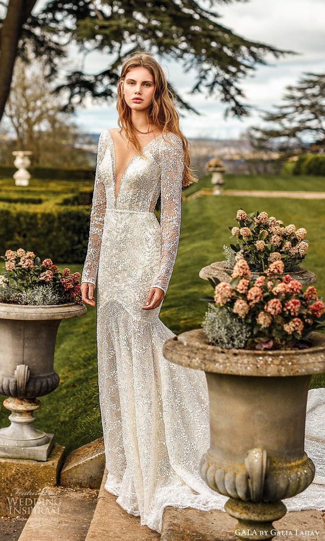 gala galia lahav fall 2021 bridal long sleeve plunging v neckline fit flare mermaid wedding dress chapel train (2) mv