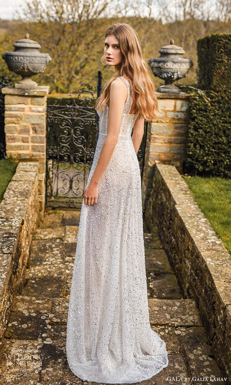 gala galia lahav fall 2021 bridal sleeveless straps fully embellished semi sweethearth a line ball gown wedding dress chapel train (1) bv