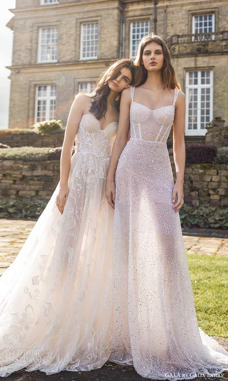 gala galia lahav fall 2021 bridal sleeveless straps fully embellished semi sweethearth a line ball gown wedding dress chapel train (1) mv