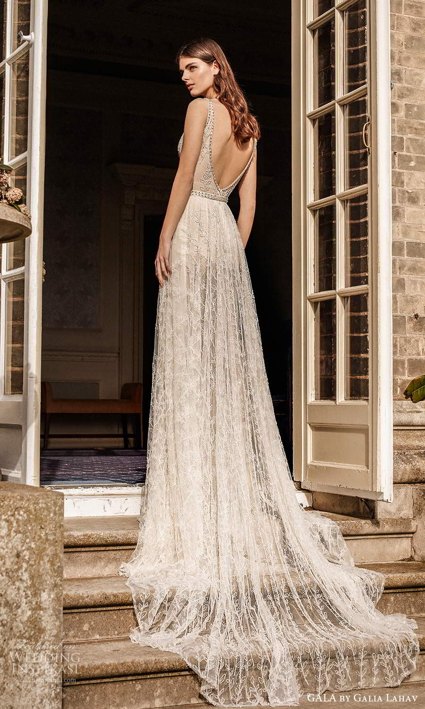 gala galia lahav fall 2021 bridal sleeveless straps plunging v neckline fully embellished jumpsuit a line wedding dress chapel train (4) bv