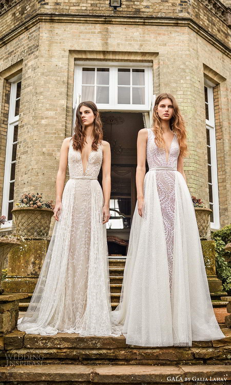 gala galia lahav fall 2021 bridal sleeveless straps plunging v neckline fully embellished jumpsuit a line wedding dress chapel train (4) fv