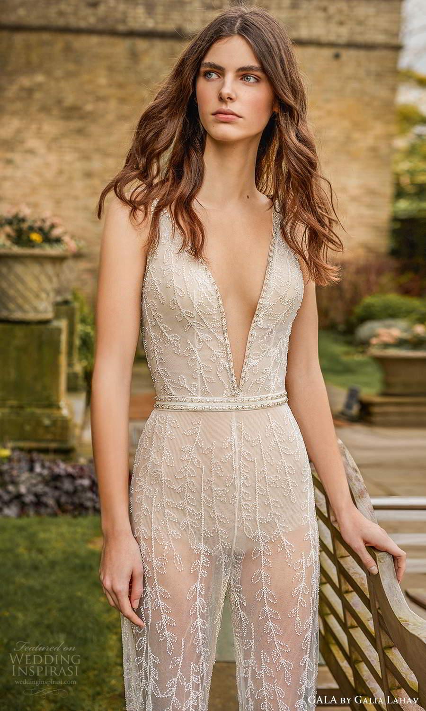 gala galia lahav fall 2021 bridal sleeveless straps plunging v neckline fully embellished jumpsuit a line wedding dress chapel train (4) zv
