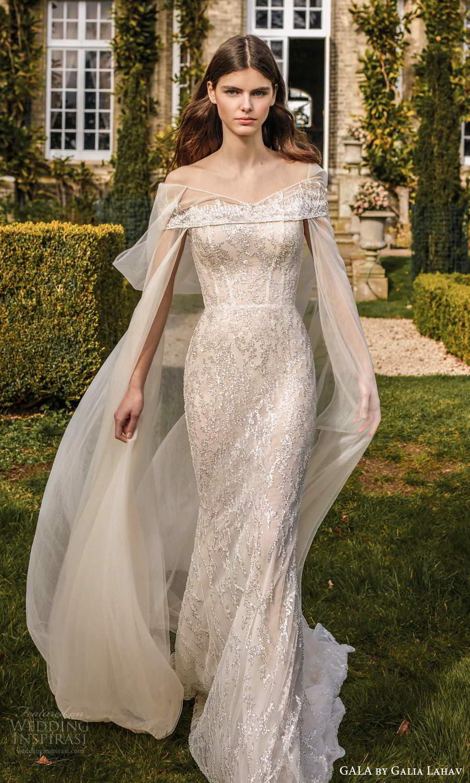 gala galia lahav fall 2021 bridal strapless scoop neckline fully embellished sheath mermaid wedding dress chapel train cape (3) mv