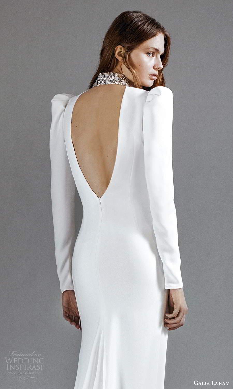 galia lahav 2021 rtw bridal long puff sleeves embellished high neckline clean minimalist sheath column a line wedding dress chapel train keyhole back (6) zbv