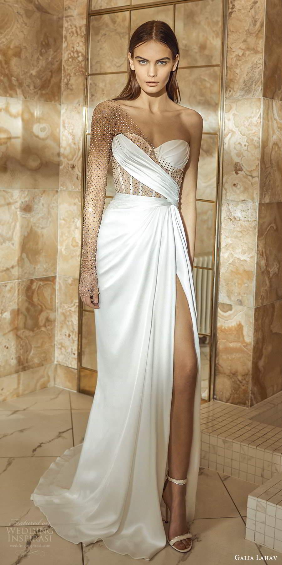 galia lahav fall 2021 bridal one shoulder long sleeve sweetheart neckline embellished bodice sheath wedding dress slit skirt (1) mv