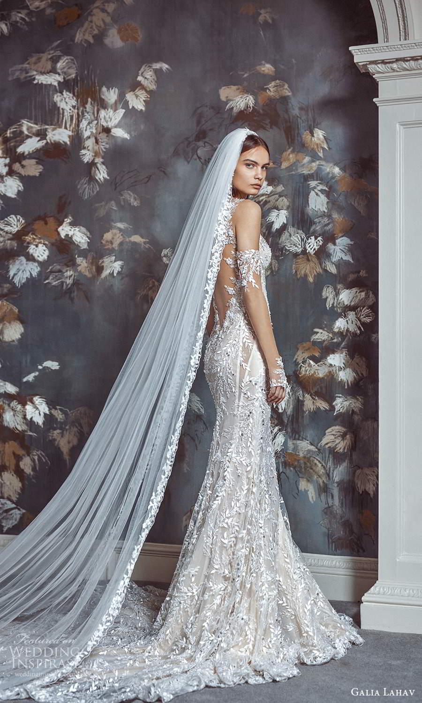 galia lahav fall 2021 bridal sleeveless straps sweetheart neckline fully embellished lace sheath wedding dress chapel train (2) bv