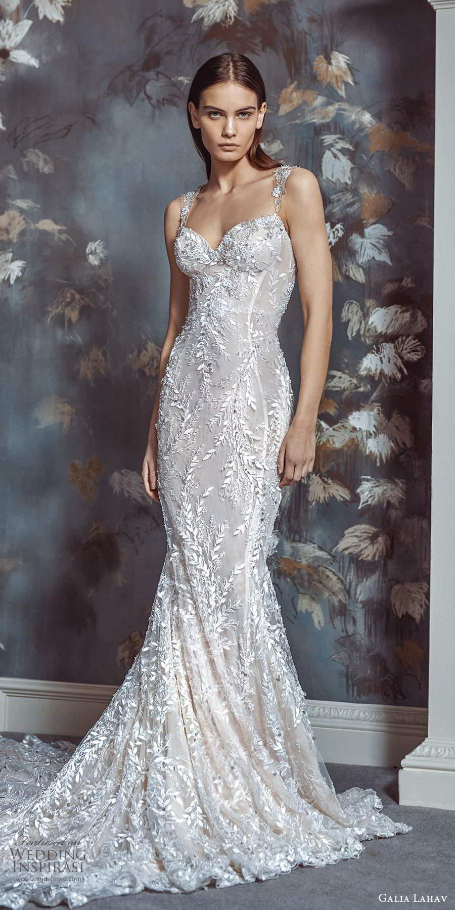 galia lahav fall 2021 bridal sleeveless straps sweetheart neckline fully embellished lace sheath wedding dress chapel train (2) mv