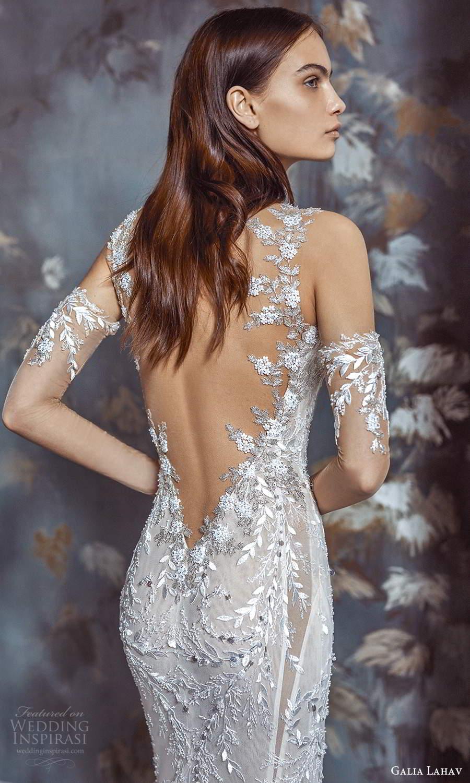 galia lahav fall 2021 bridal sleeveless straps sweetheart neckline fully embellished lace sheath wedding dress chapel train (2) zbv