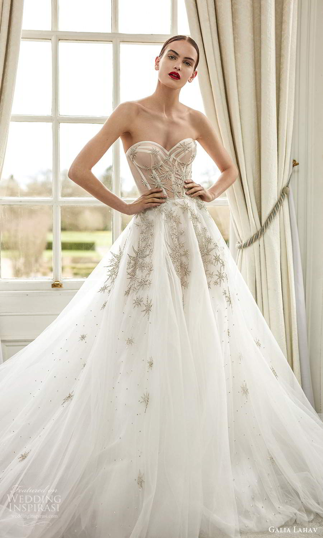 galia lahav fall 2021 bridal strapless sweetheart sheer embellished corset bodice a line ball gown wedding dress chapel train (3) mv