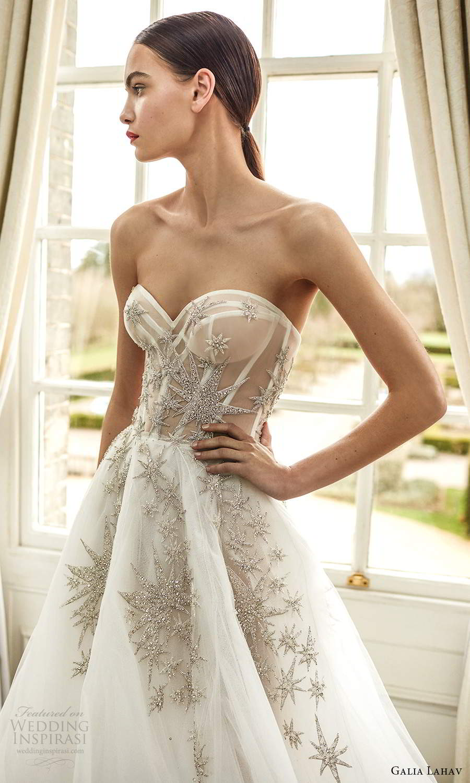 galia lahav fall 2021 bridal strapless sweetheart sheer embellished corset bodice a line ball gown wedding dress chapel train (3) zv
