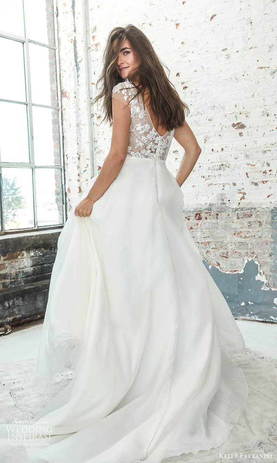 kelly faetanini 2021 bridal sheer cap sleeves plunging v neckline embellished lace bodice a line ball gown wedding dress chapel train (2) bv