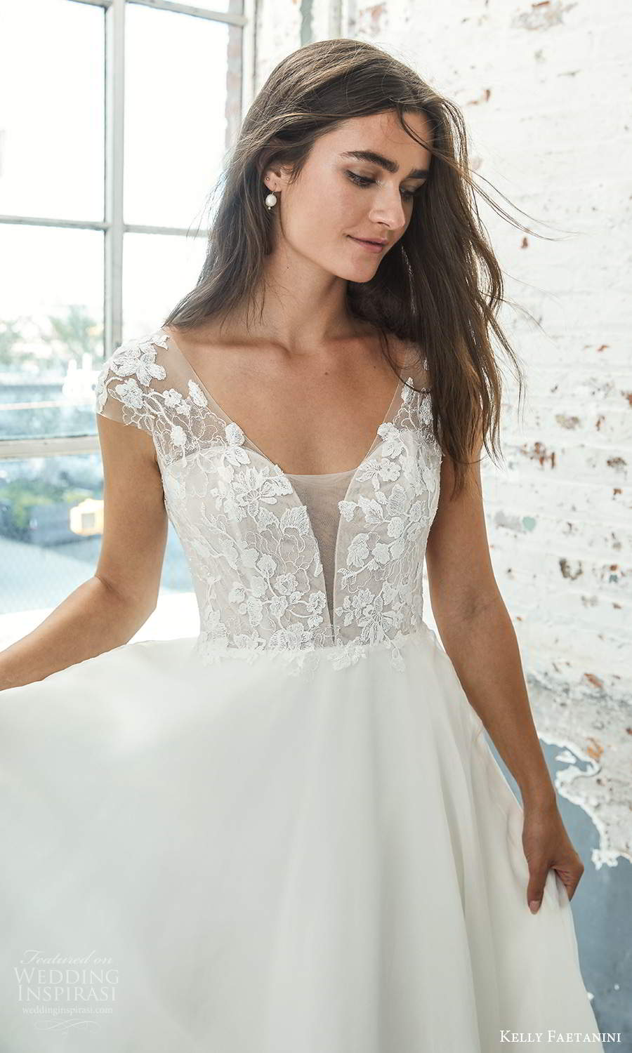 kelly faetanini 2021 bridal sheer cap sleeves plunging v neckline embellished lace bodice a line ball gown wedding dress chapel train (2) mv