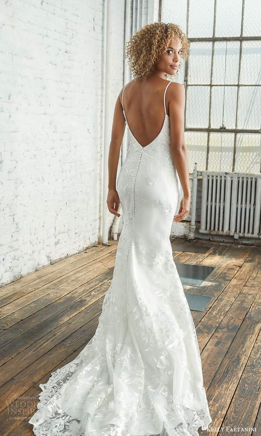 kelly faetanini 2021 bridal sleeveless thin straps scoop neckline fully embellished fit flare mermaid wedding dress chapel train low back (10) bv