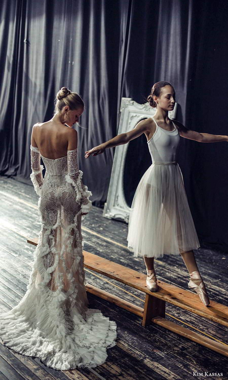 kim kassas fall 2021 bridal detached sleeves gloves strapless semi sweetheart neckline fully embellished lace sheath wedding dress chapel train (5) bv