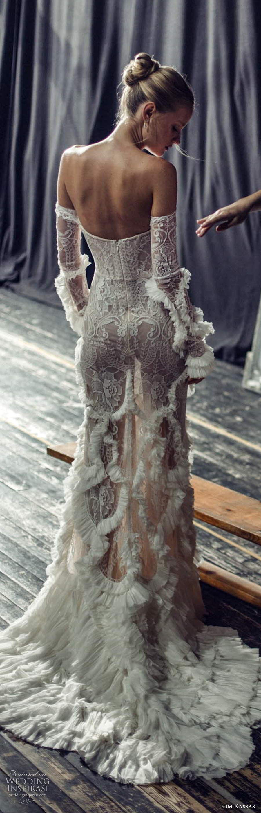 kim kassas fall 2021 bridal detached sleeves gloves strapless semi sweetheart neckline fully embellished lace sheath wedding dress chapel train (5) lv