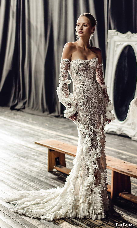 kim kassas fall 2021 bridal detached sleeves gloves strapless semi sweetheart neckline fully embellished lace sheath wedding dress chapel train (5) mv