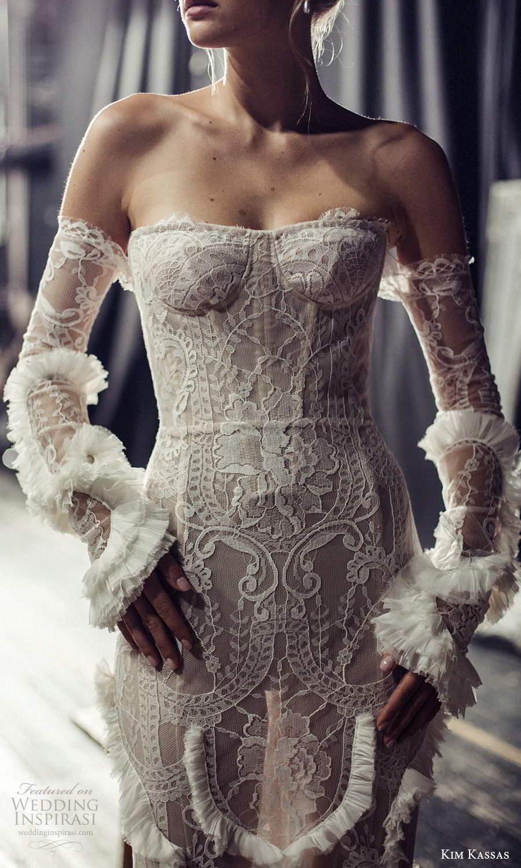 kim kassas fall 2021 bridal detached sleeves gloves strapless semi sweetheart neckline fully embellished lace sheath wedding dress chapel train (5) zv