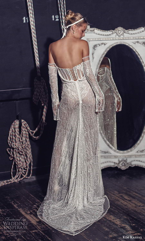 kim kassas fall 2021 bridal off shoulder long sleeves semi sweetheart neckline fully embellished column sheath wedding dress sweep train (13) bv