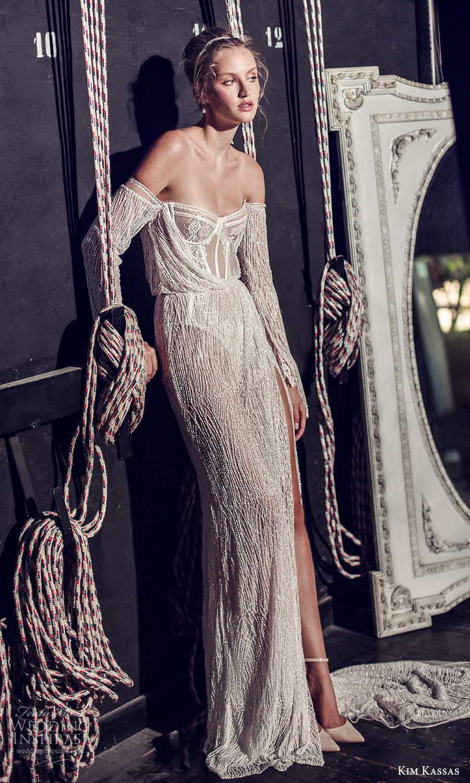 kim kassas fall 2021 bridal off shoulder long sleeves semi sweetheart neckline fully embellished column sheath wedding dress sweep train (13) mv